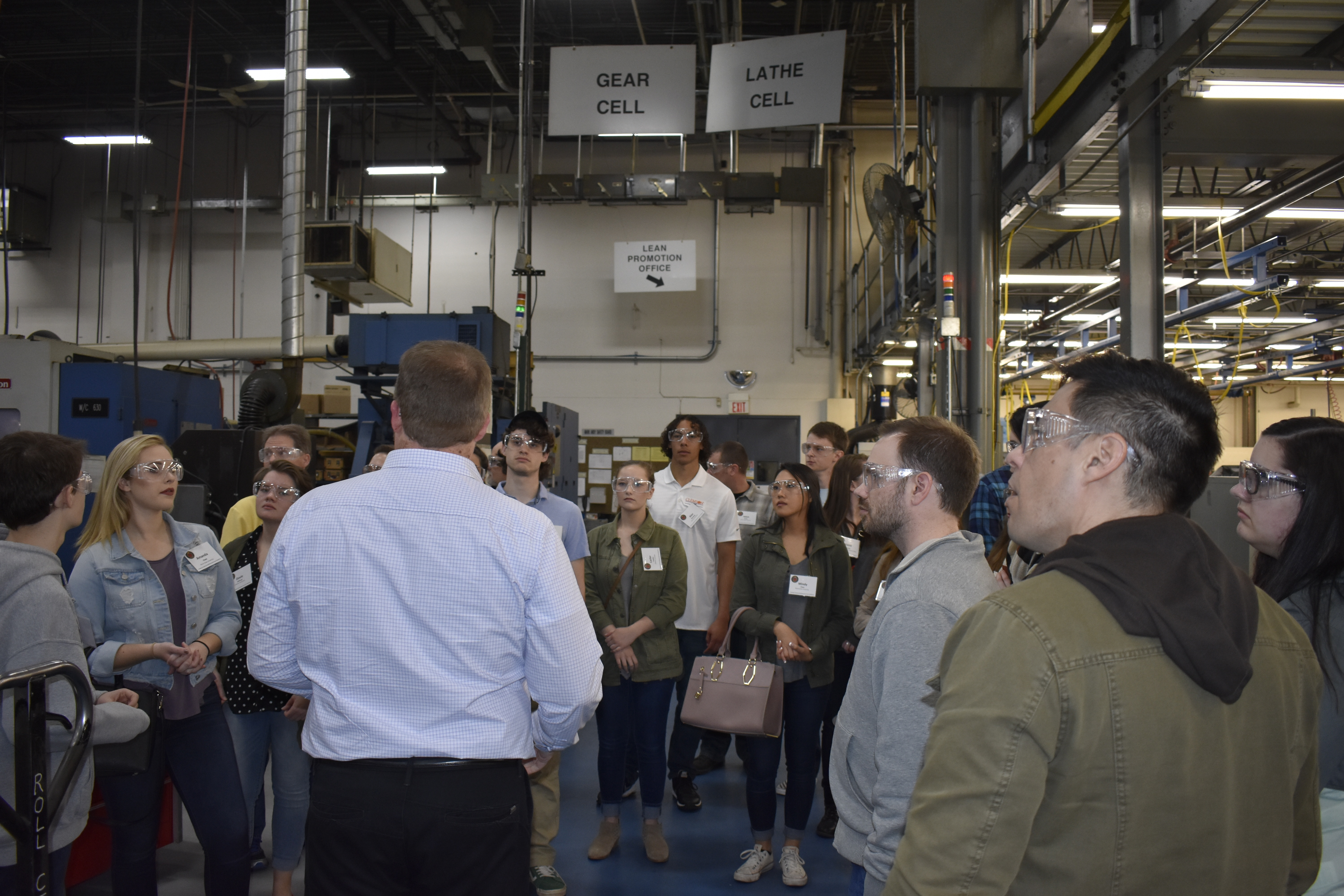 Students touring Mark Andy's manufacturing facilities.
